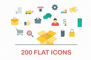 200 Flat Icons Vector Set