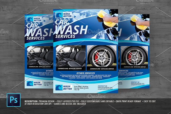 Car Wash Flyer Templates Creative Market