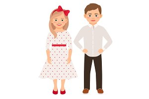 Cute cartoon fashion kids couple