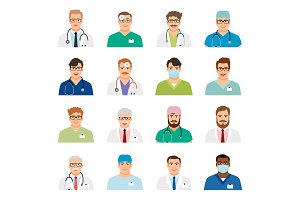 Medicine physician men face portrait icons