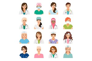 Female doctors and nurses avatars set