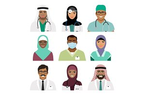 Medical practitioner and nurse face icons
