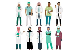 Muslim doctor and arabian nurse icons