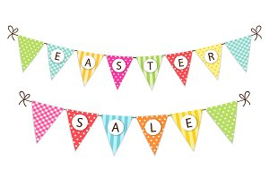 Cute festive vintage Easter bunting flags for your decoration