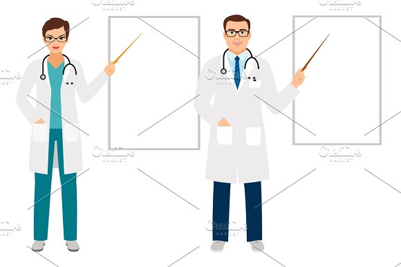 Doctors Pointing On Presentation Board