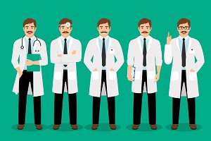 Standing male doctor poses