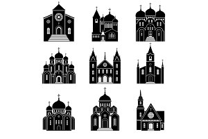 Church black silhouette icons