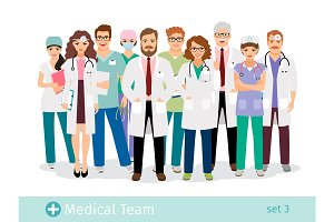 Medical staff professionals group in uniform