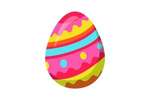 Easter Egg with Zigzag Colorful Lines Vector