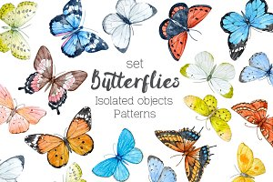 20 Watercolor Butterflies