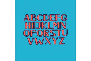 Font alphabet type uppercase letters vector illustration