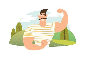 Strongman athlete showing bisep cartoon vector illustration.