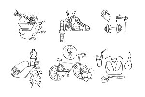 Hand drawn sport equipment icons vector illustration