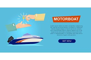 Buying Motorboat Online. Boat Selling. Web Banner.