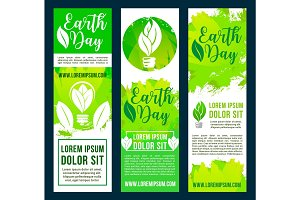 Earth day and ecology conservation banners