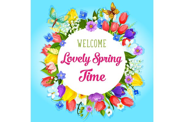 Vector spring time flowers greeting…