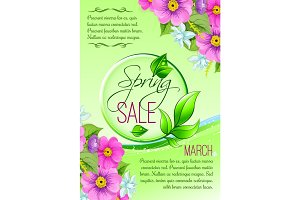 Sale vector floral poster of spring shopping promo