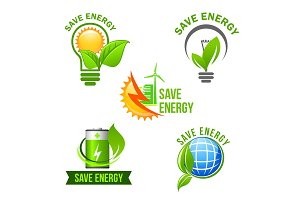 Green eco power and energy saving symbol set