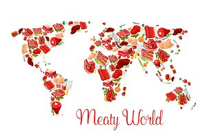 Meat world map poster with beef, pork, ham, bacon