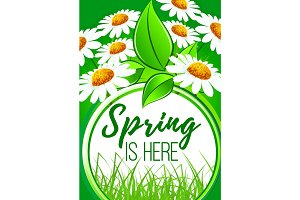 Spring is here flower frame border design