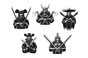 Soldiers or warriors man ammunition vector icons