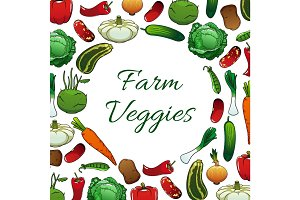 Farm vegetables poster, vegetarian food background