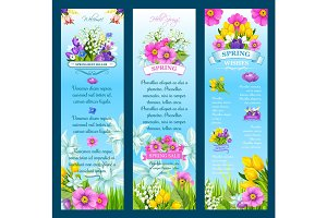 Spring vector wishes banners and flowers