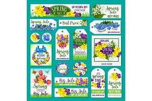 Spring sale vector tags, posters, banner templates