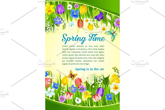 Spring Time Holiday Flowers Greeting Vector Poster