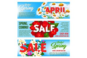 Sale banners of springtime vector floral design