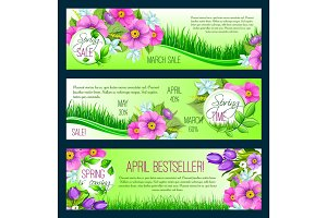 Spring vector floral banners