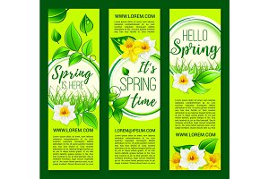 Hello Spring vector springtime flowers banners