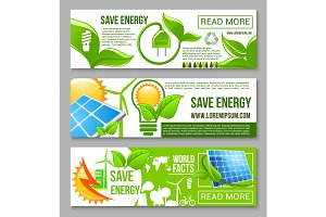 Eco green energy saving banner set design