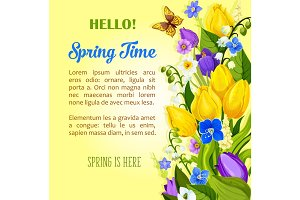 Spring flowers blooming design vector greetings