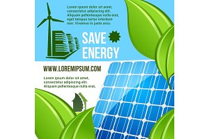 Energy saving and green eco technology poster