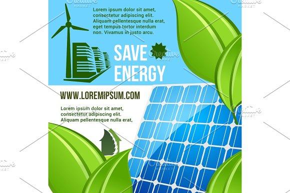 Energy Saving And Green Eco Technology Poster