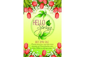 Spring holiday sale vector tulip flowers poster