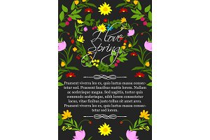 Vector floral poster for spring greeting design