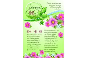 Spring sale vector poster of pink flowers