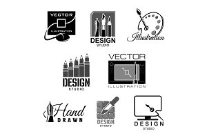 Graphic illustration design studio vector icons