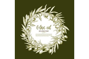 Olive oil poster of vector olives branch wreath
