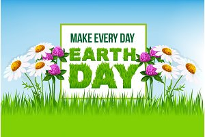 Earth Day poster with green grass and flowers