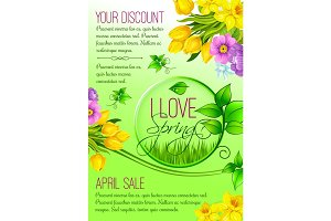 Spring vector poster of flowers for shopping sale