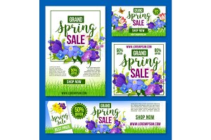 Spring sale vector flowers poster banner template