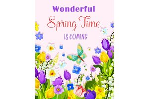 Vector flowers design of spring time greeting card