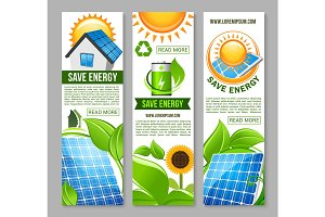 Save energy banner with green house, solar panel
