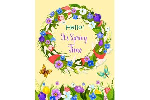 Vector spring flowers wreath greeting card