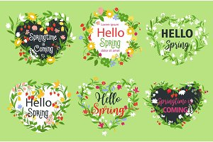 Vector spring greeting icons of heart flowers
