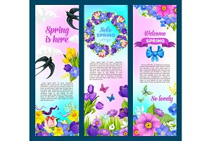 Spring holidays greeting vector flowers banners