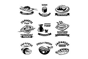 Vector seafood sushi japanese restaurant icons